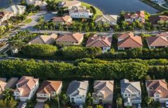 birds eye view of housing development